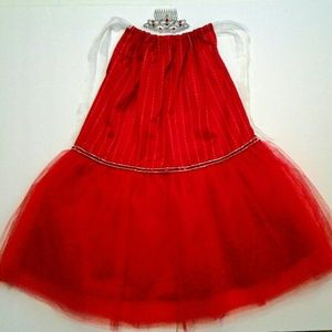 Red Tutu & Tiara comb w/ Bling Girl size 6 - 6X
